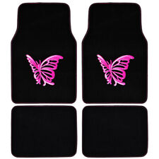 Pink Butterfly Design Car Floor Mats, 4 Piece Set Custom Auto Accessories⭐⭐⭐⭐⭐