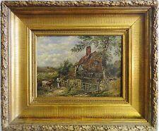 C.S. (evt. Carl SALTZMANN 1847-1923 Gemälde 1887-?: BÄUERIN MIT KUH AM BAUERNHOF