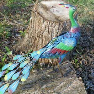 Exotic Blue Peacock Bird Decorative Garden Sculpture Statue Ornament Large 52cm