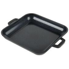 HEISS CA-104-BK/BK 10 oz Black Enamel Coated Cast Aluminum Mini Square Grill Pan
