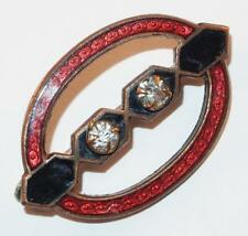 Oval Rhinestones Brass Brooch Pin Antique Victorian Red Cloisonne Black Enamel