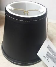 Ethan Allen Black Leather Silk Lined Chandelier Clip-On Lamp Shade NEW