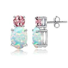 925 Sterling Silver Created Opal and Pink Tourmaline Stud Earring