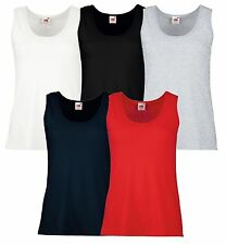 Ärmellose Fruit of the Loom Damen-T-Shirts ohne Muster