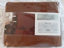 Judith Roberts Luxury Soft Silk~y Satin 3 Pcs TWIN Size Sheet Set Brown Copper