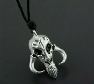 STAR WARS THE MANDALORIAN SKULL Cord NECKLACE SILVER Skull comes gift pouch  253