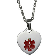 Stainless Steel Heart Medical ID Symbol Dog Tag Pendant Necklace Free Engraving