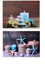 2 Wandbilder blaue Kerzen und maritim LED Beleuchtet je 40 X 30 Cm