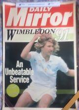 Steffi Graf ORIGINALE VINTAGE DAILY MIRROR Wimbledon'91 POSTER PROMOZIONALE
