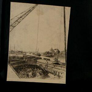 HEINRICH OTTO 1858 WERNSWIG-1923 DÜSSELDORF SCHIFFSENTLADUNG HAFEN DUISBURG 1910
