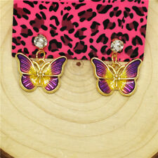 Hot Purple Enamel Cute Butterfly Crystal Betsey Johnson Women Stand Earrings