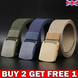 120cm Mens Unisex Canvas Webbing Belt Regular Military Slider Buckle Army Belts