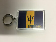 BARBADOS PLASTIC KEY RING DOUBLE SIDED ROOTS & CULTURE 5cm x 4cm
