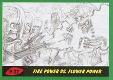 Mars Attacks The Revenge Green Pencil Art Base Card P-27 Fire Power vs. Flower