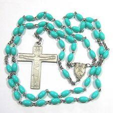 "Rosary with aqua plastic beads 24"" wwv"