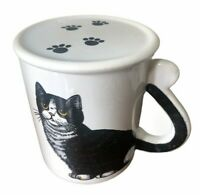 Vintage Black Cat Mug Tail Handle with Lid Taiwan Ceramic Cup