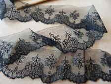 "Antique Victorian Jet Black Lace Ribbon Trim Unused 14+ Yards x 1.75"""