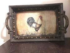 Beautiful Rooster Serving tray with bamboo wrapped handles