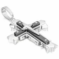 """22"""" Men's Black Silver Tone Cross Pendant Stainless Steel Chain Necklace"""