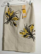 NWT Tory Burch SZ 2 Ivory/wheat Embroidered Embellished Skirt Knee Length