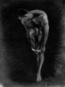 Su o via? Drawing nude male Classic 1/39/50 Esteban Pencil Graphite FREE SHIP