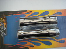 Pro One Chrome Smooth Flat Top Billet Aluminium Grips for Harley-Davidson