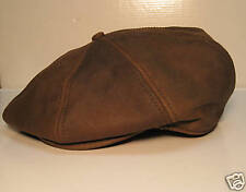 LEATHER 8/4 NEWSBOY GATSBY DRIVING HAT CAP IVY BROWN M