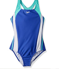 Speedo Girls Solid Infinity Splice Dark Peri Size 4