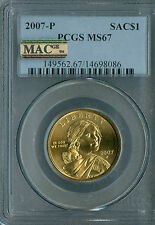 2007-P SACAGAWEA DOLLAR PCGS MAC MS67 PQ 2ND FINEST REGISTRY SPOTLESS *