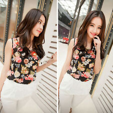 Women Casual Chiffon Flower Shirt Blouse Summer Sleeveless Vest Tank Top T-Shirt