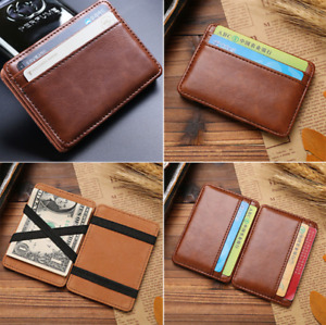 Men's Faux Leather Magic Money Clip Slim Wallet ID Credit Card Holder Case Purse
