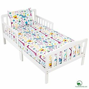YourEcoFamily Cotton Fitted Crib Sheet & Toddler Pillowcase Set Animals Kids