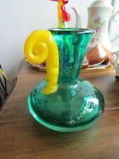 "Vintage Murano Venetian Italian Art Glass Green Vase 5.5"" Yellow  Handled"