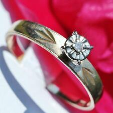 Magic Glo 10k yellow gold size 7 engagement ring 0.05ct diamond solitaire 1.3gr