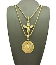 "Hip Hop Crown Praying Angel & Lion Head Pendant 24"",30"" Box Chain 2 Necklace Set"