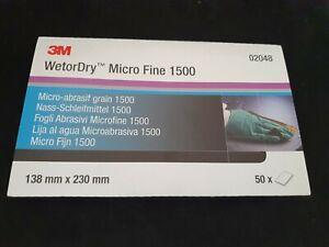 50 x 3M Abrasive sheet wetordry P1500 Sheets 138 x 230 mm Sandpaper Micro Fine