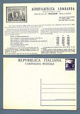ITALIA REP. - Cart. post. - 1947 - Democratica - £. 4 - Aerofilatelica Lombarda