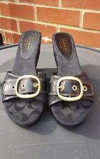 Coach Gretta Black Leather Signature Wedge Platform Sandals Slides Womens  8.5