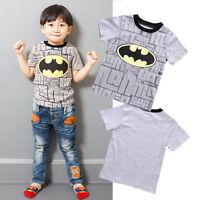 Cartoon Toddler Kids Boys Batman Short Sleeve Tops T-shirt Clothes Casual 2-7Y