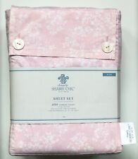Rachel Ashwell Simply Shabby Chic Pink White ROSE SLIPPER Floral Sheet Set KING