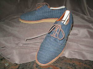 TOM'S Men's Denim Herringbone Brogue Casual Lace Up Sneakers 10 M