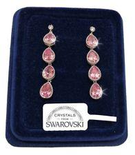 Orecchini Goccia Lunga donna pl. oro Bianco 18K cristalli swarovski SW/11 Rosa