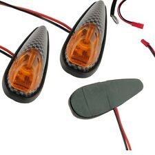 2x Carbon Turn Signal Blinker Lamp For Motor Motorcycle Yellow High Power - UK