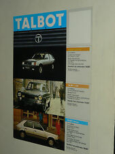 Prospectus  SIMCA TALBOT Solara 1100 Horizon Rancho 1510, prospekt, brochure car