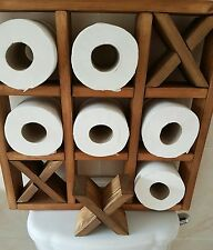 WOODEN TOILET ROLL & NOUGHTS/CROSSES- BATHROOM WALL MOUNTED HOLDER GREAT IDEAS