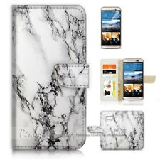 ( For HTC U11 ) Wallet Case Cover P21387 Marble Pattern