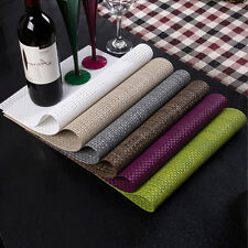 Set of 2 PVC Solid Insulation Bowl Placemats Dining Pad Western Table Mats Sales
