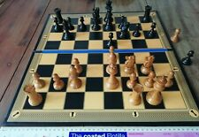 """Black Edition Heavyweight Folding Chess Board, Antique Design with 2"""" squares"""