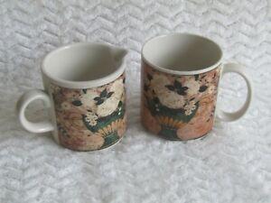 1997 Warren Kimble Cup and Creamer White Roses By Sakura