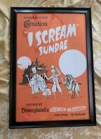 1969 Vintage Ice Scream Sundae Haunted Mansion Carnation Poster Disneyland 50th